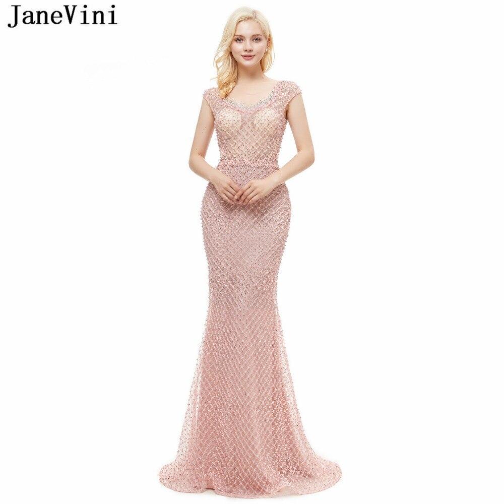 JaneVini Luxury Beaded Pearls Pink Tulle   Bridesmaid     Dresses   Sweep Train 2018 Scoop Neck Illusion Back Mermaid Elegant Prom Gowns