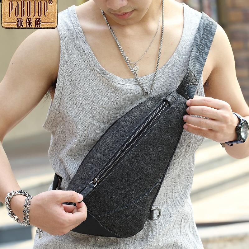 100% cow leather Chest pack Pabojoe brand new 2018 Men Messenger Bag genuine leather Shoulder Bag free shipping free shipping dhl brand new cow leather clothing man s 100% genuine leather jackets classics men s slim japan style jacket
