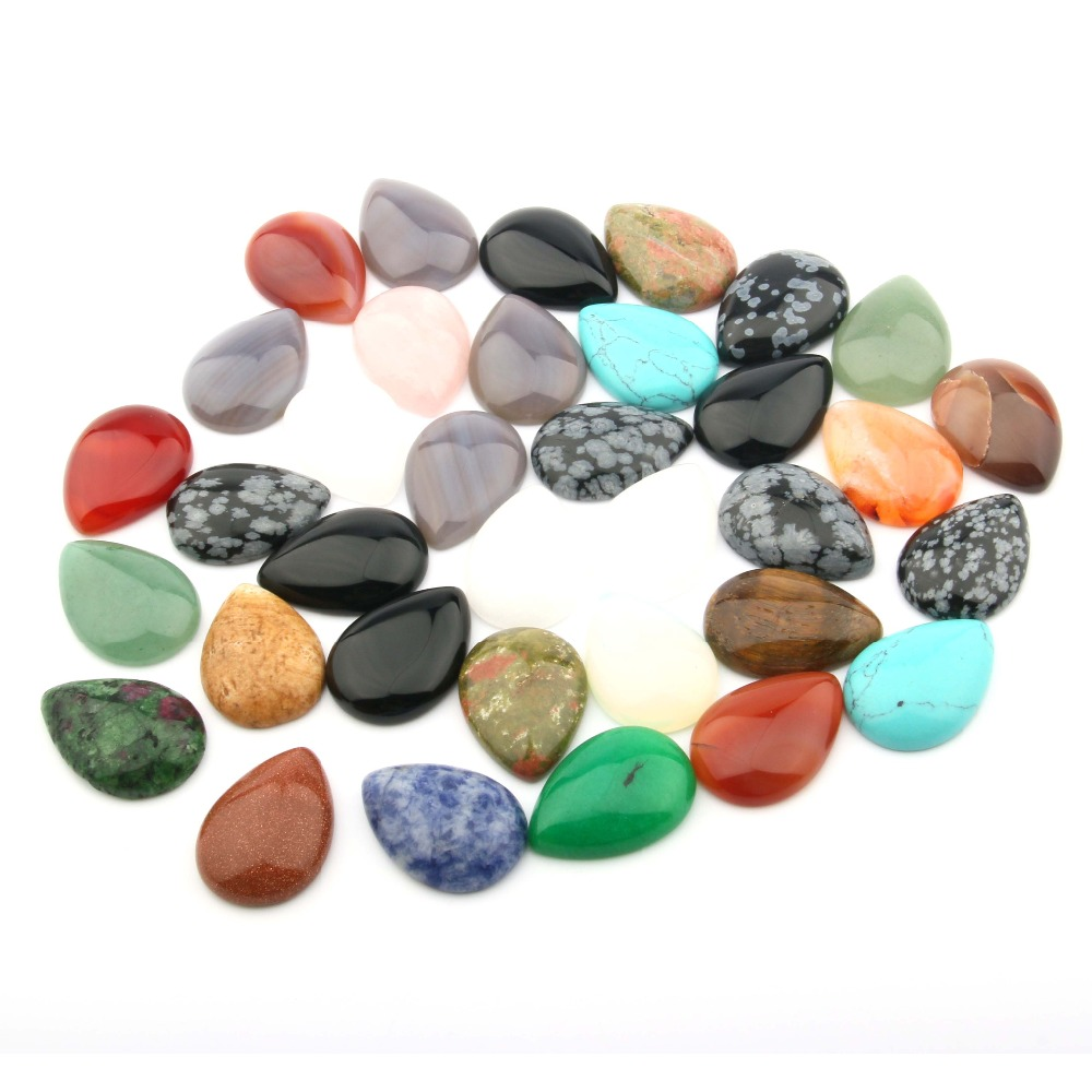 10 PCS natural stone tiger eye / agate 8X10 10x1412x1613x18MM water drop shape convex round non-porous DIY jewelry production