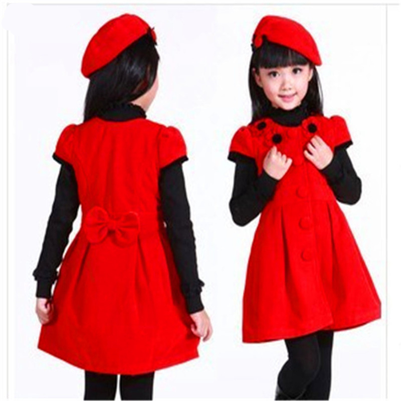 New Listing 1 = Dress + Hat  2017 Autumn Winter Children's Clothing Girls Wool Dress Princess Tutu Dress vestidos infantil princess hat skullies new winter warm hat wool leather hat rabbit hair hat fashion cap fpc018