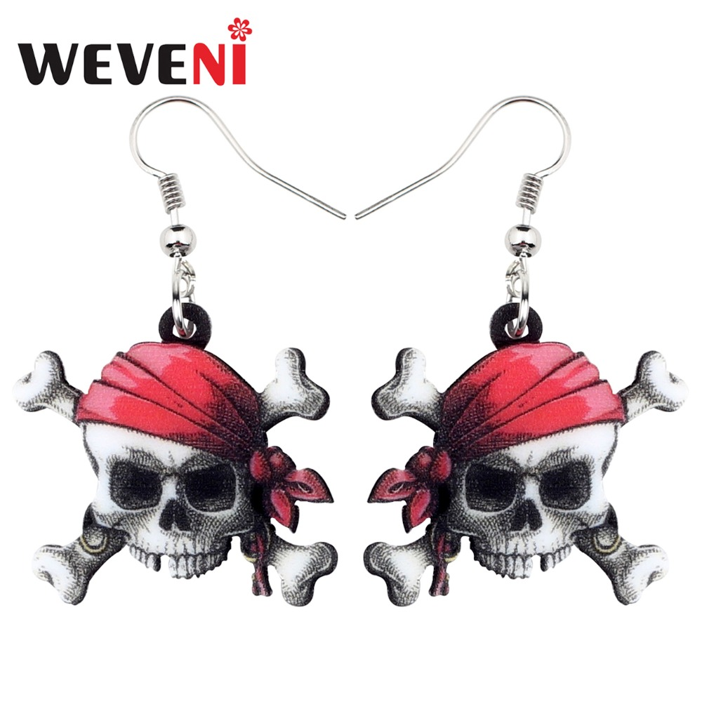 Us 0 99 49 Off Weveni Acrylic Anime Pirate Skull Earrings Drop Dangle Trendy Punk Jewelry For Women S Female Gift Fashion Charms In