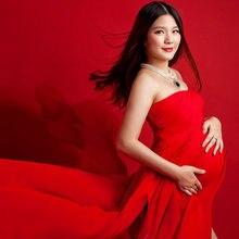 8b6a3e073 2017 Maternidad fotografía props vestido embarazo rojo Vestidos para  mujeres embarazadas ropa vestido largo rojo