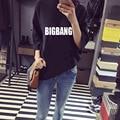 BIGBANG KPOP 2017 Nova versão Coreana Quente Mulheres preto Branco de Algodão Letras impressas Primavera verão manga Morcego T-Shirt manga Quinta