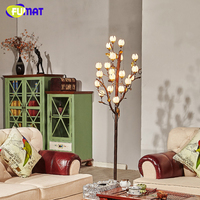 FUMAT Vintage Standing Floor Lamp American Brief Creative Metal Lamps For Living Room Lotus Glass Lampshade Antique Floor Lamp