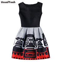 Vestido De Festa 2016 Summer Dress Women Brand Sleeveless Casual Dresses Ladies Vintage Print Plus Size