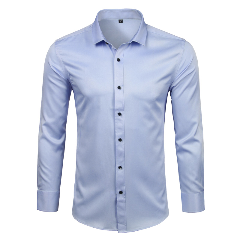 Men's Bamboo Fiber Dress Shirts Casual Slim Fit Long Sleeve Male Social Shirts Comfortable Non Iron Solid Chemise Homme Blue