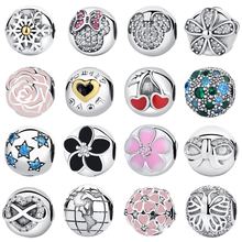 Authentic 925 Sterling Silver Magnolia Bloom Love Heart Safety Stopper Beads Fit pandora Bracelets Crystal Clip DIY Accessorie