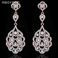 Mecresh Luxurious Gold Plated Full of Crystal Round Bridal Long Earrings for Women Wedding Jewelry EH188