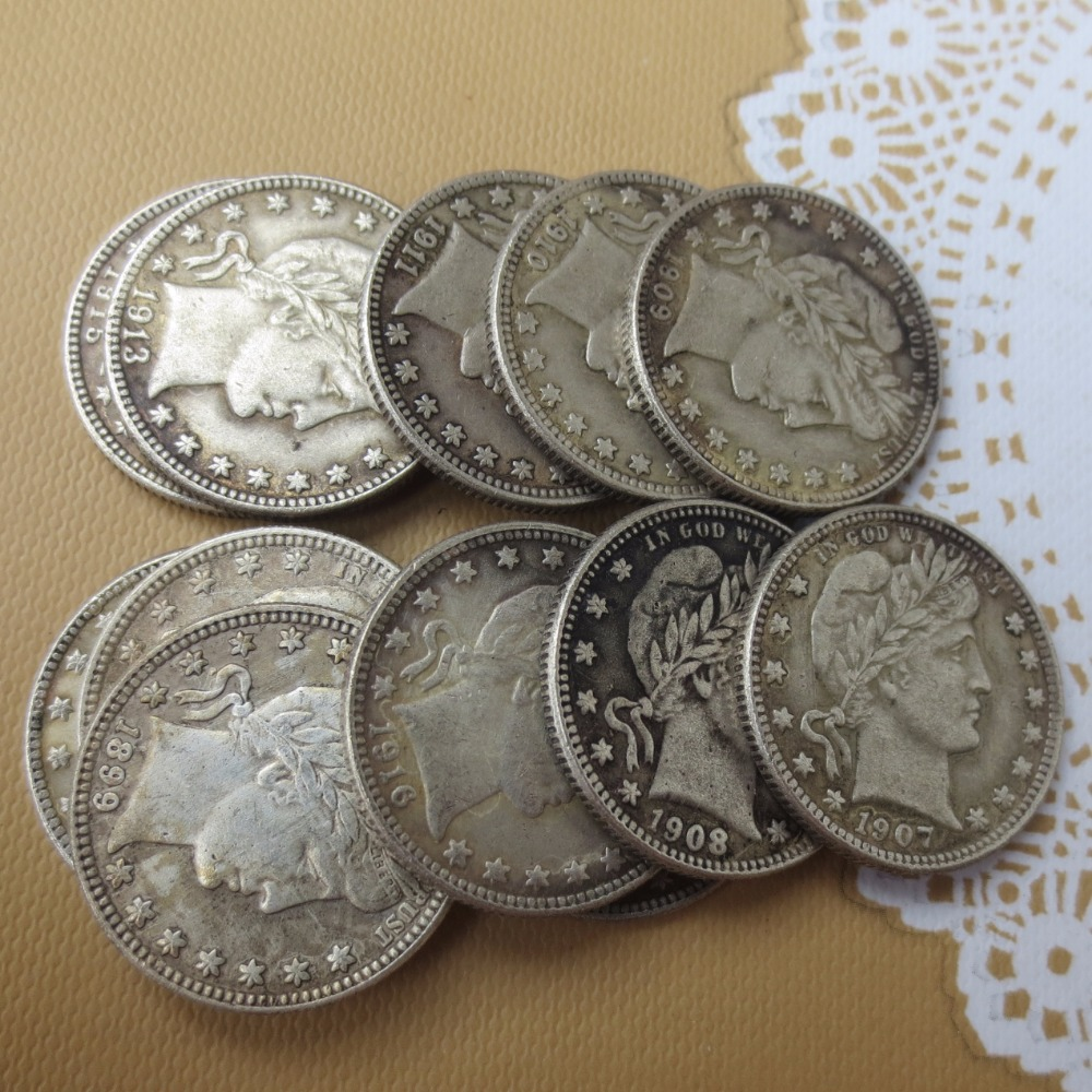 90% silver or silver plated U.S. Coins Mixed date-D Barber Quarter Dollars Retail / Whol ...