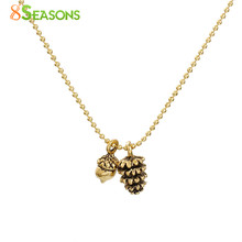 "8SEASONS Handmade Necklace Antique gold-color Pine Cone Acorn 47cm(18 4/8"") long, 1 Piece(China)"