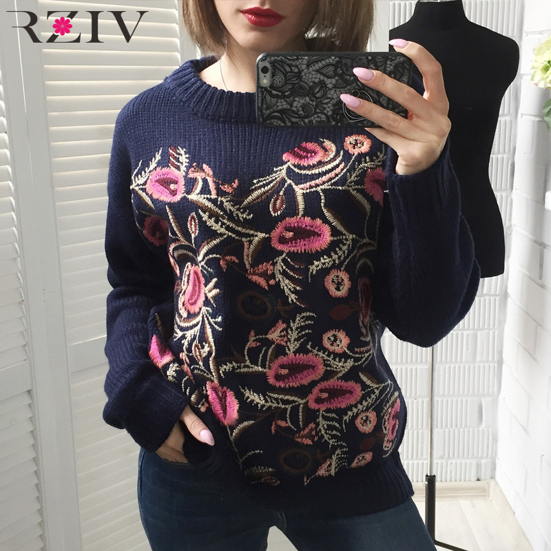 RZIV Fall women sweater casual solid color flowers embroidered loose sweater