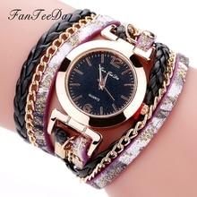 Color Glass Dial Winding Bracelet Women Watches Girls Quartz Watch Bracelet Long Leather Strap Buckle Wristwatch reloj dama