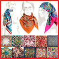 2016 New Winter Scarf 90*90cm Silk Satin Neck Foulard Femme Pattern Printed Women Fashionable Gift Square Scarves Bandana Pz08