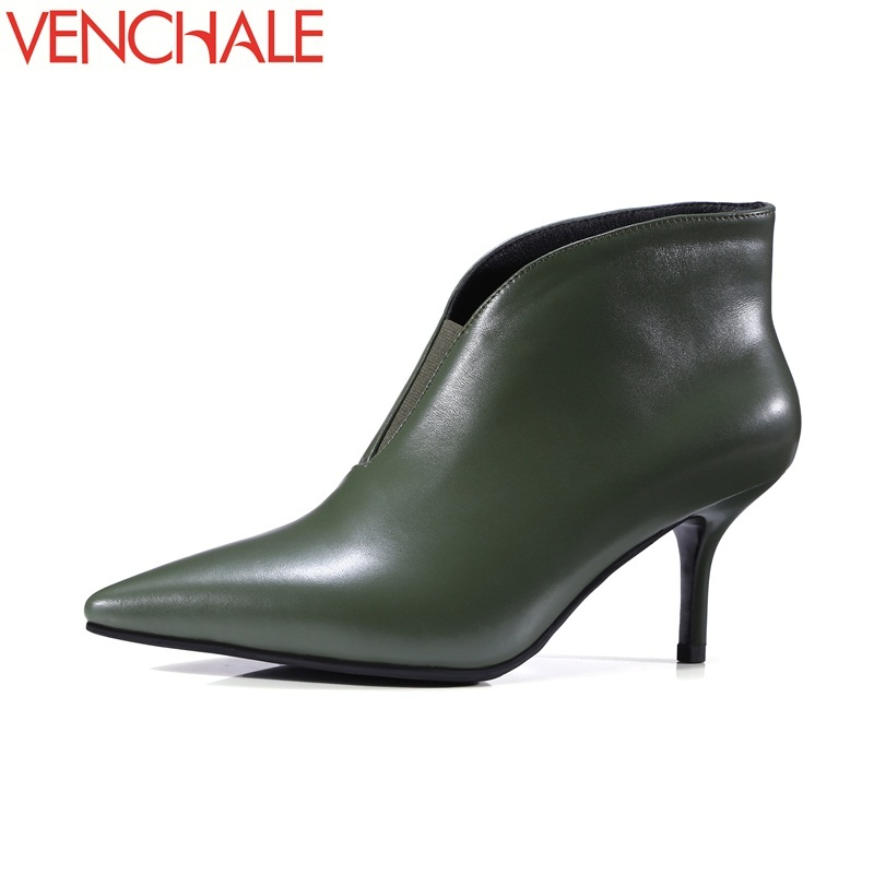 VENCHALE ankle boots modern pointed toe career genuine cow leather high heels fashion solid high quality concise women boots