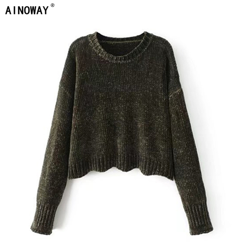 Vintage chic Autumn women retro do old chenille velvet short sweater loose irregular knitted  pullover lady's oversized sweater