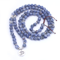 108 Sodalite stone beads and Ancient silver Charm Pendant mala necklace dropshipment yoga necklace women jewelry Handmade