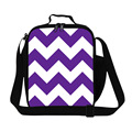 Personalized Purple chevron print lunch bag for womens work,insulated cooler bags for food,black chevron lunch bag box for girls