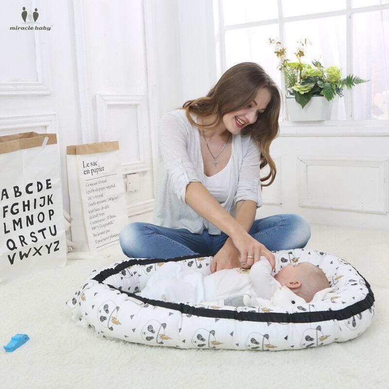 Pur coton bébé nid lit berceau lit de voyage lit de berceau pour les nouveau-nés Portable bébé berceau lavable lit pour 0-3 ans - 6