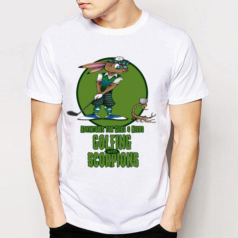 Harajuku Design Cartoon MenS Tee Shirts Golfing With Scorpions Tees Hipster Funny Boy T Shirts
