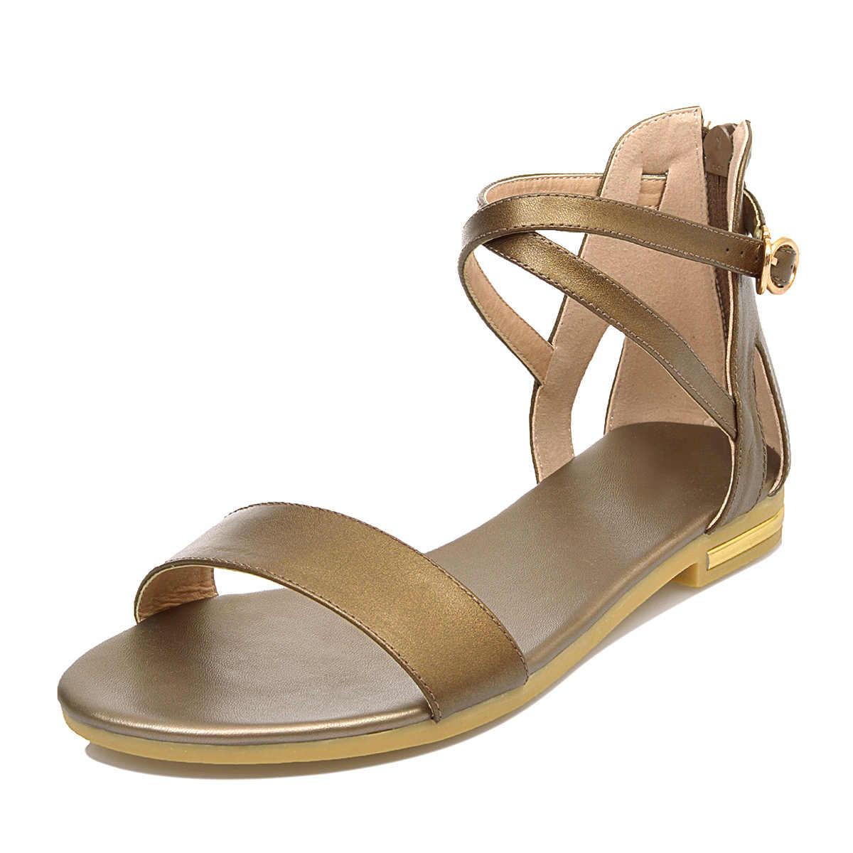 QZYERAI yaz kadın sandalet 100% saf inek derisi üretim moda kadın ayakkabısı moda konfor rahat ayakkabılar deri sandalet