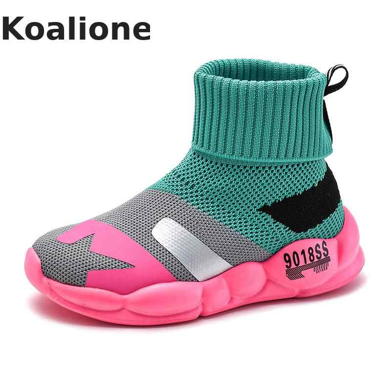 Kids Sneakers Children's Shoes Boys Running Sport Shoes Girls Breathable Knit Socks Sneakers Outdoors Soft Casual Shoes Autumn