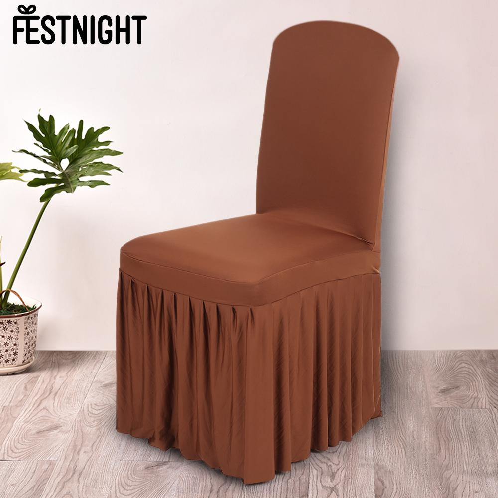 Chair Cover Pleated Solid Color Ruffled Home Dining Spandex Seats Slipcover For Wedding Party
