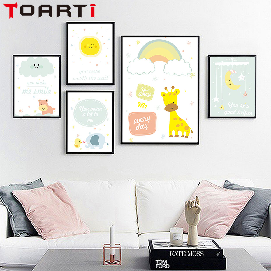 Sweet Elephant Giraffe Cartoon Animal Canvas Art Print Painting Wall Art Picture for Home Decoration Nursery Baby Boys Kids Room