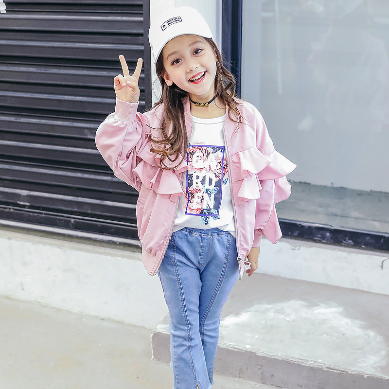 2018 School Girls Pink Jacket Ruffle Sleeves Cool Sassy Coat for Teens Zippper Baseball Active Design 456789 10 11 12T Years Old 2017 autumn girls blouse ruffle hem flare sleeves blue striped letter design for teens at age 56789 10 11 12 13 14t years old