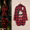 2017 Spring New Casual Women Plaid Full Sleeve Loose Cartoon Mickey Tide Shirts Blouse Shirt Black Red 7321
