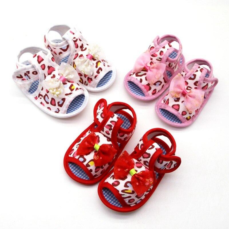 Cotton Leopard Print Solid Color Bowknot Design Shoes Soft Sole Anti-slip Shoes Summr Kids Baby Girl Shoes