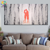 Hand Painted Lover Oil Painting On Canvas Abstract Banksy Wall Art Gray Home Decoration Picture For