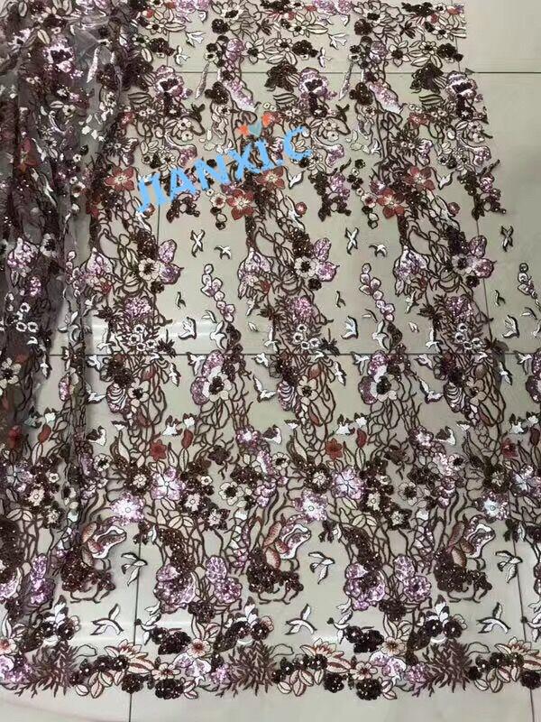 Cekiny haftowane afryki koronki koronki tkaniny David 81927 afrykańsko francuski materiał koronkowy z kwiatem w Koronka od Dom i ogród na  Grupa 1