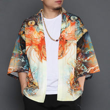Hommes D été Solaire Chemise Veste Casual Lâche Kimono Cardigan Manteau  Mâle Mode De La Rue Hip Hop À Manches Courtes Survêtemen. 9e1bcd326357