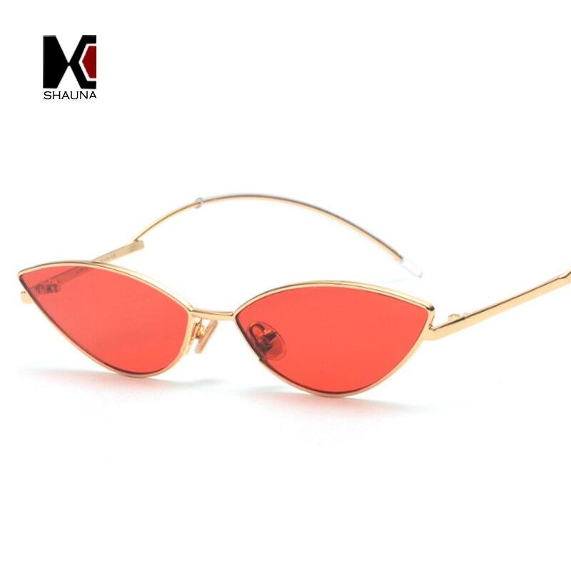 SHAUNA Popular Small Cat Eye Metal Frame Women Sunglasses Trending Men Candy Colors Lens Glasses UV400