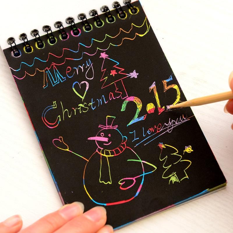 New Novelty Drawing Book DIY Scratch Graffiti Magic Note Sketch Black Cardboard Books  Kids Children Toy School Supplies K6311