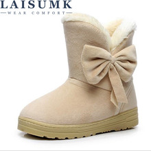 2019 LAISUMK New Arrival Hot Sale Women Boots Solid Bowtie Slip-On Soft Cute Snow Round Toe Flat With Winter Shoes