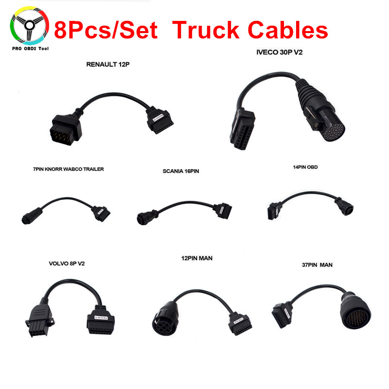 High Quality OBD2 Truck Cables 8Pcs/Set OBDII Wow Snooper Multidiag Pro TCS CDP New VCI  ...