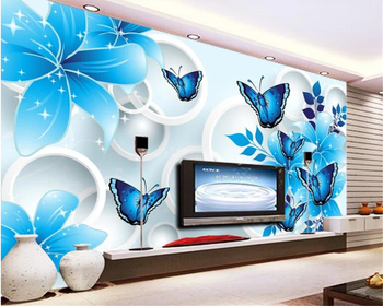 Beibehang Custom wall papers home decor papel de parede Blue floral butterfly Living room sofa background wall 3d wallpaper 3d brick wall stone wallpaper modern vintage living room tv sofa background wall covering gray brick wall papers papel de parede