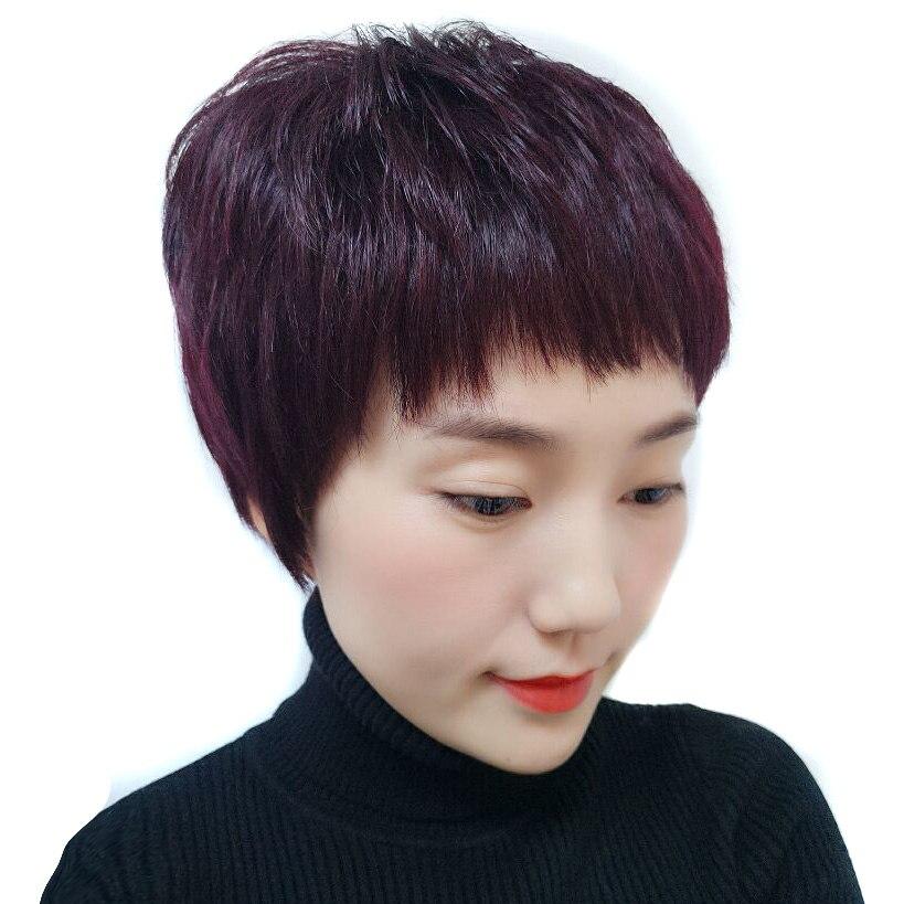 Qp cheveux droites courtes perruques résistant à la chaleur Fiber japonaise 99J cheveux naturels femmes perruque synthétique