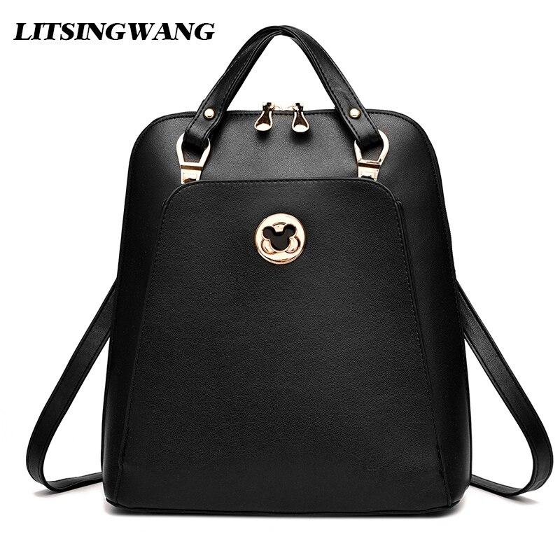 9540d170c019 Litsingwang 2017new Для женщин рюкзак студента школьная сумка из  искусственной кожи BAOBAO Дамская мода рюкзак элегантный