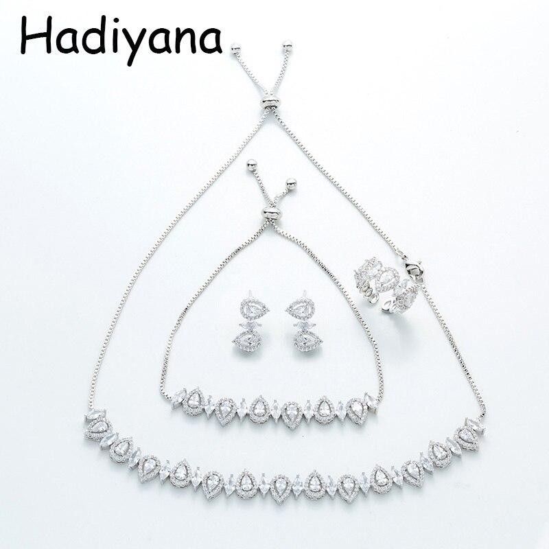 Hadiyana mode cheval oeil goutte conception Micro-ensemble complet Zincon bijoux ensemble nouveau quatre pièces mariée accessoires de mariage TZ8067