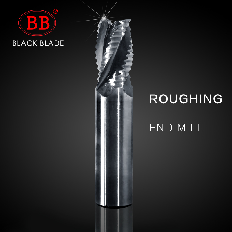 Black Blade Roughing Cutter And Face End Mill HSS AL 2 3 4 Flute 6mm 8mm 10mm 12mm 20mm