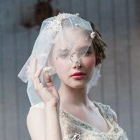 2018 new arrival bridal veils white short wedding blusher veil two layers pearls beading stunning flowers veil veu noiva