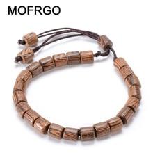 Фотография MOFRGO Natural Wenge Wood Beads Rope Bracelet Ajustable Friendship Bracelets For Women Tibetan Meditation Beads Wooden Jewelry