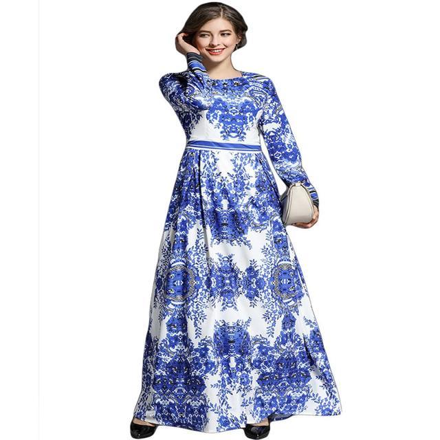 4e9f13e0a40 Maxi Dress Women 2018 Spring Summer Dress Runway Design Robe Longue Femme  Blue White Porcelain Print Long Sleeve Casual Dresses