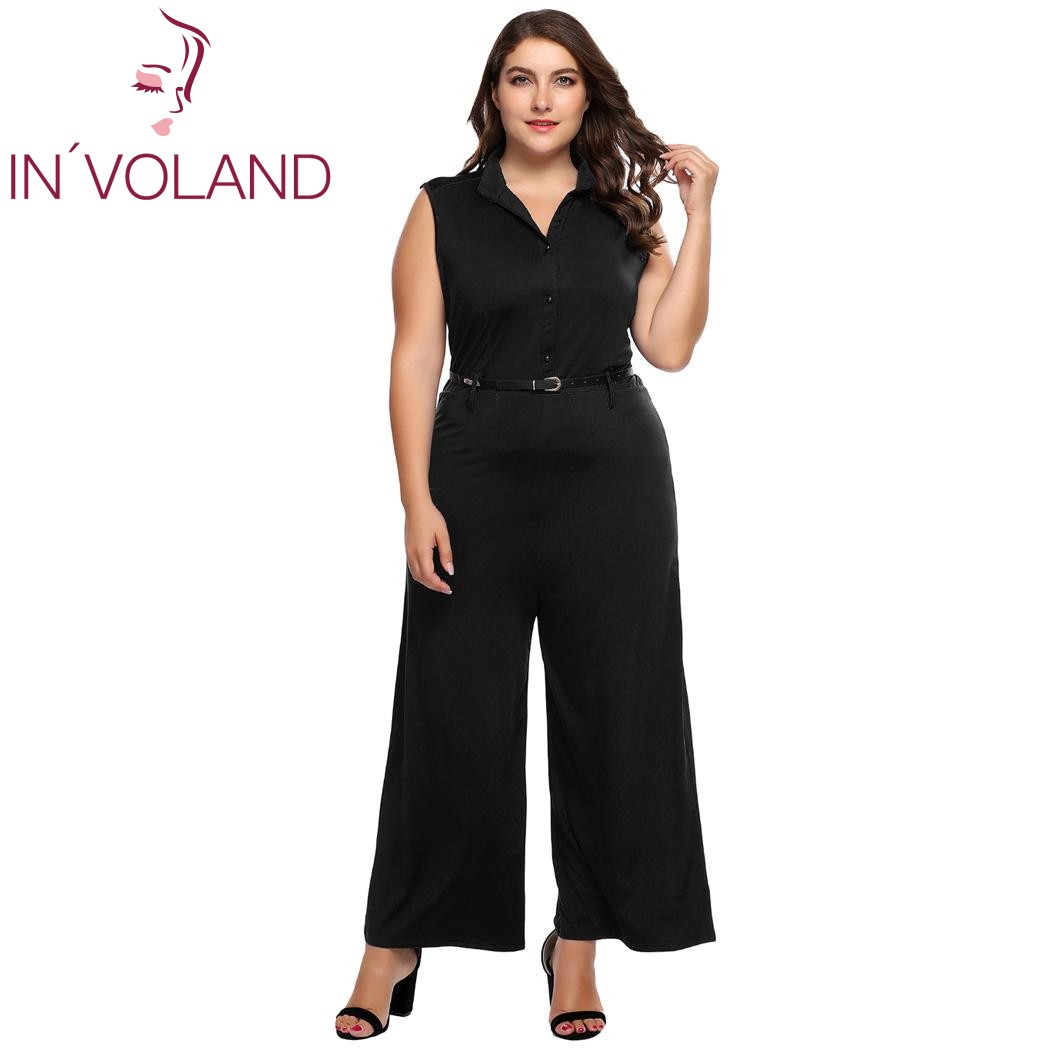 2b58854ac64 IN VOLAND Large Size Women Jumpsuit Rompers 4XL Sexy Plunge V Neck Wide Leg  Playsuits Sleeveless Full Length Bodysuit Overalls
