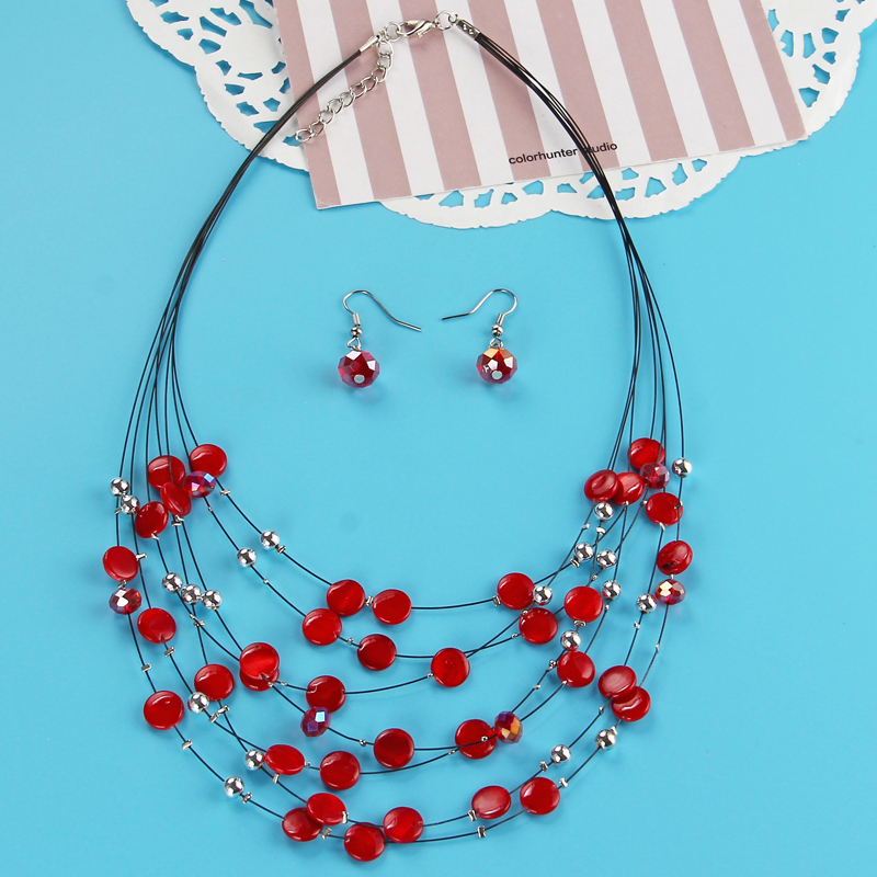 Fashion Shell Crystal Jewelry Sets Beads Natural Stone Layers Silver Choker Necklace Drop Earrings Set Women Boho Jewelry Set
