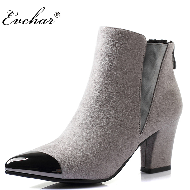fashion pointed toe thick high heels women ankle boots PU nubuck leather boots women riding boots autumn winter shoes size 33-40 2016 autumn and winter fashion high top shoes male pointed toe leather casual shoes men s ankle boots