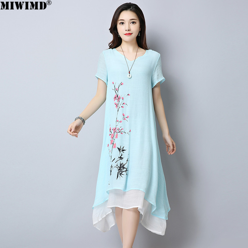 f8a2d2dfb887 MIWIMD Women Summer Dresses 2018 New Fashion Casual Loose Cotton Linen  Printing Fake Two Pieces Vintage Long Dress Big Size