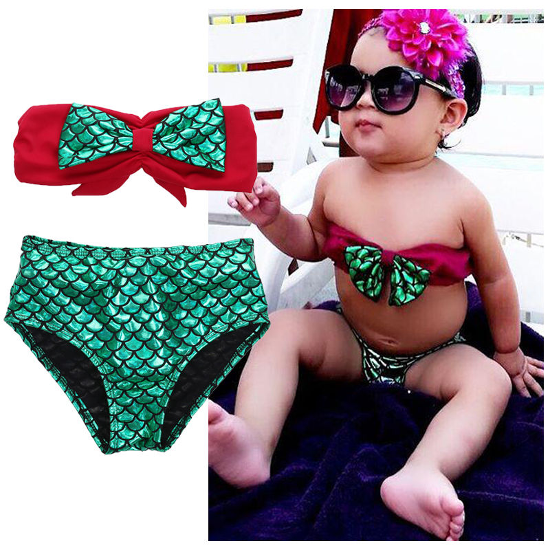 88017fec4a Summer Children Baby Girls Little Mermaid Bathing suit Bikini Set Swimsuit  Swimwear Costume Baby Summer Clothes 2 7Y-in Children's Two-Piece Suits  from ...